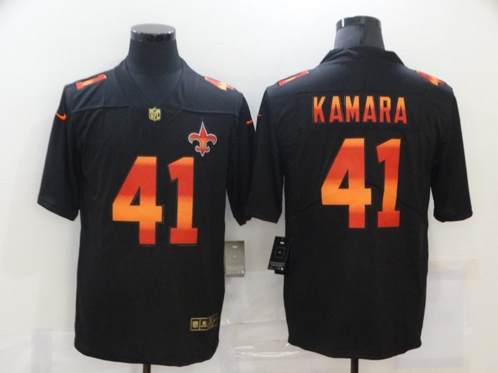 Men's New Orleans Saints #41 Alvin Kamara Black Red Orange Stripe Vapor Limited Nike NFL Jersey