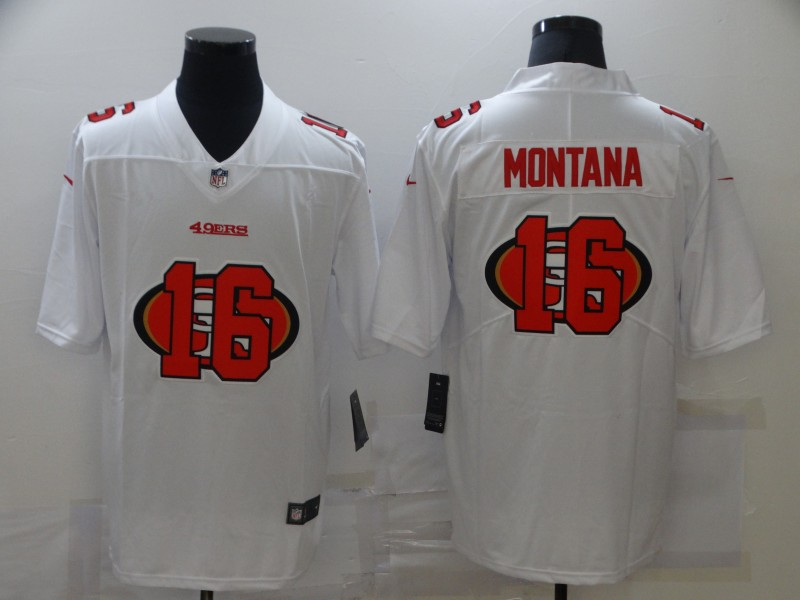 Men's San Francisco 49ers #16 Joe Montana White 2020 Shadow Logo Vapor Untouchable Stitched NFL Nike Limited Jersey