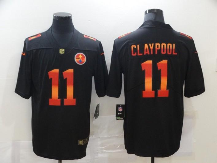 Men's Pittsburgh Steelers #11 Chase Claypool Black Red Orange Stripe Vapor Limited Nike NFL Jersey