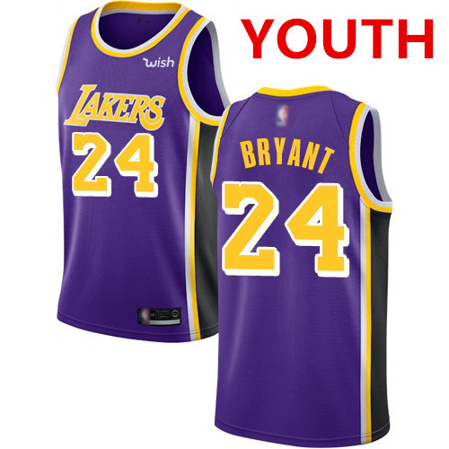 Youth Los Angeles Lakers #24 Kobe Bryant Purple Basketball Swingman Statement Edition Jersey