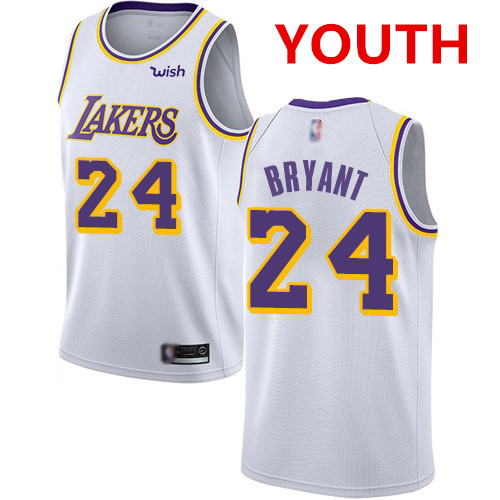 Youth Los Angeles Lakers #24 Kobe Bryant White Basketball Swingman Association Edition Jersey