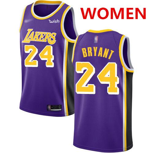 Women's Los Angeles Lakers #24 Kobe Bryant Purple Basketball Swingman Statement Edition Jersey