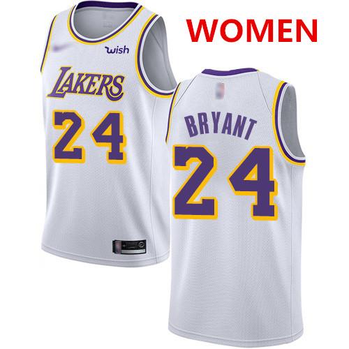 Women's Los Angeles Lakers #24 Kobe Bryant White Basketball Swingman Association Edition Jersey