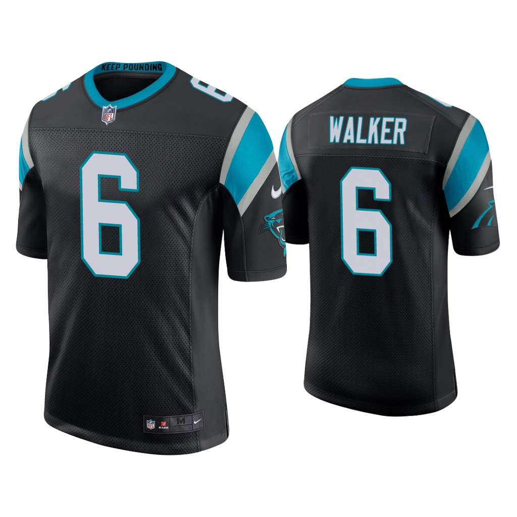 Men's Carolina Panthers #6 P.J. Walker Vapor Limited Black Nike Jersey