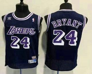 Men's Los Angeles Lakers #24 Kobe Bryant Navy Blue Hardwood Classics Soul Swingman Throwback Jersey