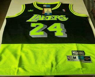 Men's Los Angeles Lakers #24 Kobe Bryant Green Black Split Hardwood Classics Jersey