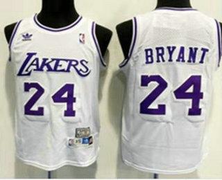 Men's Los Angeles Lakers #24 Kobe Bryant White Swingman Stitched NBA Throwback Jersey