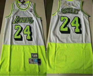 Men's Los Angeles Lakers #24 Kobe Bryant White Green Split Hardwood Classics Jersey