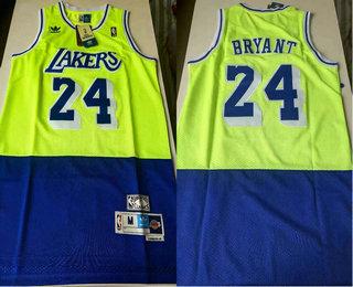 Men's Los Angeles Lakers #24 Kobe Bryant Green Blue Split Hardwood Classics Jersey