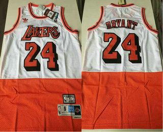 Men's Los Angeles Lakers #24 Kobe Bryant White Red Split Hardwood Classics Jersey