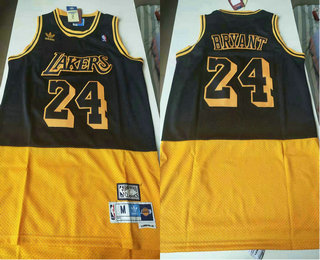 Men's Los Angeles Lakers #24 Kobe Bryant Black Yellow Split Hardwood Classics Jersey