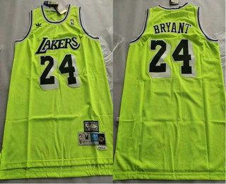 Men's Los Angeles Lakers #24 Kobe Bryant Green With Black Name Hardwood Classics Soul Swingman Throwback Jersey