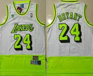 Men's Los Angeles Lakers #24 Kobe Bryant White Fluorescent Green Split Hardwood Classics Jersey