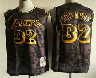 Men's Los Angeles Lakers #32 Magic Johnson 1984-85 Purple With Yellow Hardwood Classics Soul Swingman Throwback Jersey