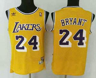 Men's Los Angeles Lakers #24 Kobe Bryant Yellow Hardwood Classics Soul Swingman Throwback Jersey