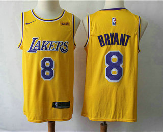 Men's Los Angeles Lakers #8 Kobe Bryant Yellow 2018-2019 Nike Wish Swingman Stitched NBA Jersey