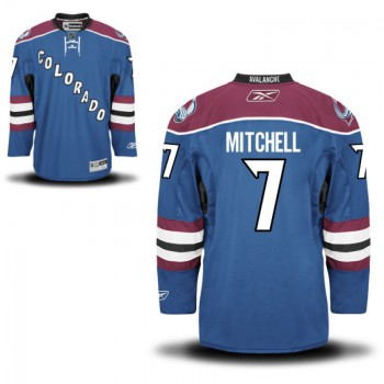 Men's Reebok Colorado Avalanche  #7 John Mitchell Authentic Royal Blue Alternate NHL Jersey