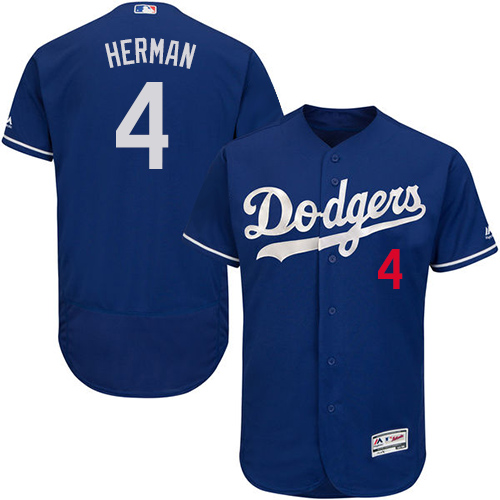 Men's Los Angeles Dodgers #4 Babe Herman Royal Blue Flexbase Authentic Collection Baseball Jersey