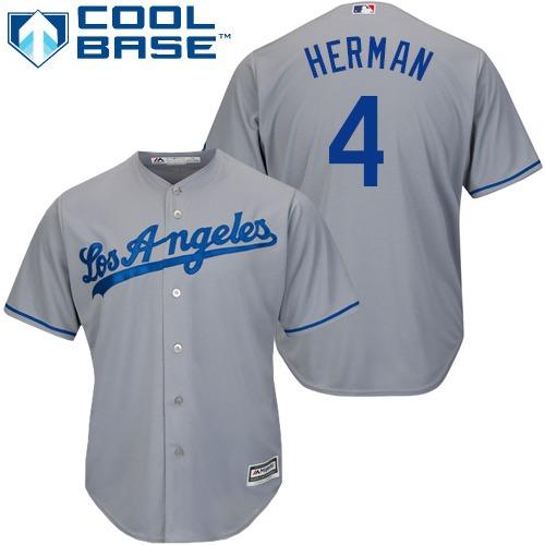 Men's Los Angeles Dodgers #4 Babe Herman Replica Grey Road Cool Base Baseball Jersey