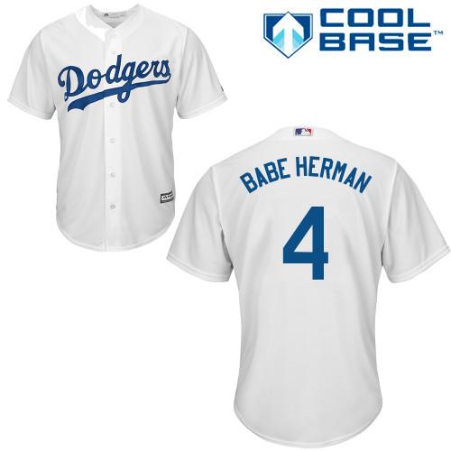 Men's Los Angeles Dodgers #4 Babe Herman Replica White Home Cool Base Baseball Jersey