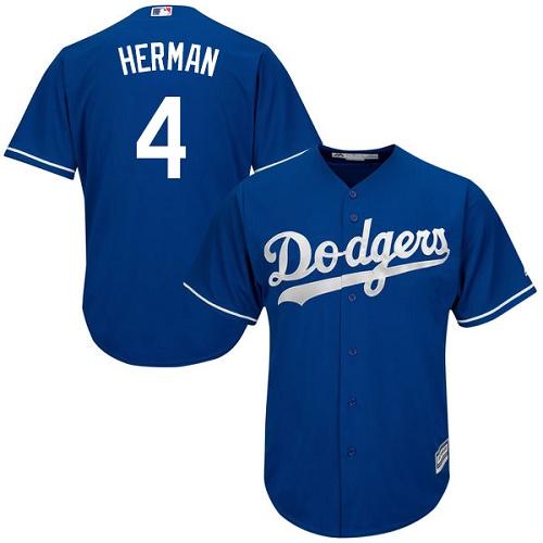 Men's Los Angeles Dodgers #4 Babe Herman Replica Royal Blue Alternate Cool Base Baseball Jersey
