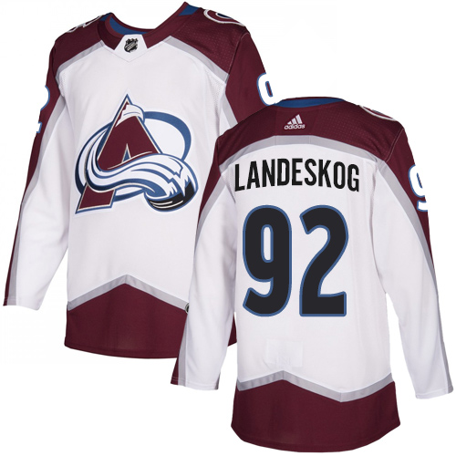 Men's Colorado Avalanche #92 Gabriel Landeskog Adidas White Away Authentic NHL Jersey