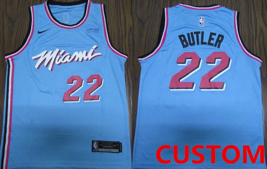 Nike Miami Heat Custom 2019-20 Men's Blue Miami City Edition NBA Jersey