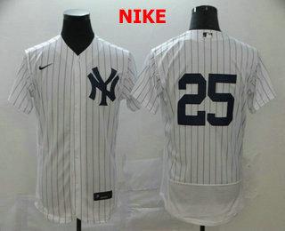 Men's New York Yankees #25 Gleyber Torres White Home No Name Stitched MLB Flex Base Nike Jersey