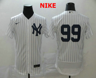 Men's New York Yankees #99 Aaron Judge White Home No Name Stitched MLB Flex Base Nike Jersey