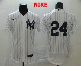 Men's New York Yankees #24 Gary Sanchez White Home No Name Stitched MLB Flex Base Nike Jersey