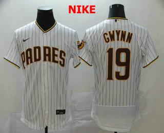 Men's San Diego Padres #19 Tony Gwynn White Pinstripe Stitched MLB Flex Base Nike Jersey