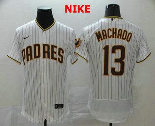 Men's San Diego Padres #13 Manny Machado White Pinstripe Stitched MLB Flex Base Nike Jersey