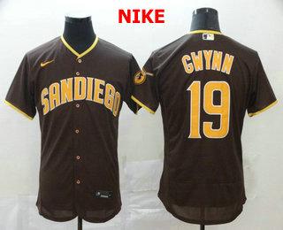 Men's San Diego Padres #19 Tony Gwynn Brown Stitched MLB Flex Base Nike Jersey