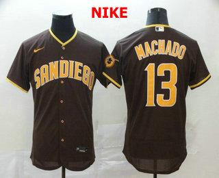 Men's San Diego Padres #13 Manny Machado Brown Stitched MLB Flex Base Nike Jersey
