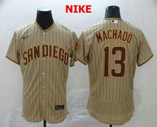 Men's San Diego Padres #13 Manny Machado Gray Pinstripe Stitched MLB Flex Base Nike Jersey