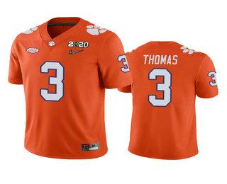 Men's Clemson Tigers #3 Xavier Thomas Orange 2020 National Championship Game Jersey