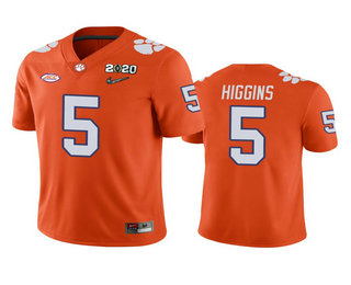 Men's Clemson Tigers #5 Tee Higgins Orange 2020 National Championship Game Jersey