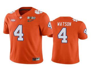 Men's Clemson Tigers #4 Deshaun Watson Orange 2020 National Championship Game Jersey