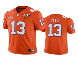 Men's Clemson Tigers #13 Tyler Davis Orange 2020 National Championship Game Jersey