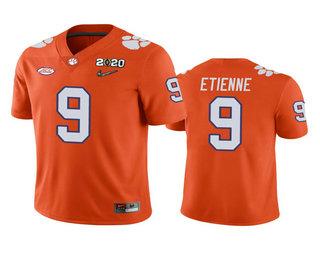 Men's Clemson Tigers #9 Travis Etienne Orange 2020 National Championship Game Jersey