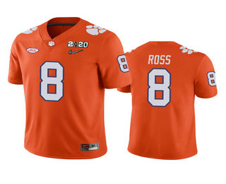 Men's Clemson Tigers #8 Justyn Ross Orange 2020 National Championship Game Jersey