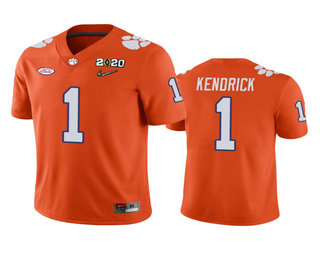 Men's Clemson Tigers #1 Derion Kendrick Orange 2020 National Championship Game Jersey