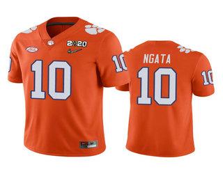 Men's Clemson Tigers #10 Joseph Ngata Orange 2020 National Championship Game Jersey