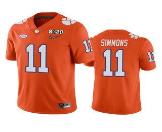 Men's Clemson Tigers #11 Isaiah Simmons Orange 2020 National Championship Game Jersey