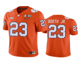 Men's Clemson Tigers #23 Andrew Booth Jr. Orange 2020 National Championship Game Jersey