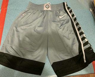 Men's Brooklyn Nets Gray 2019 NEW Nike Swingman Stitched NBA Shorts