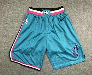Men's Miami Heat Light Blue 2019 Nike Swingman Stitched NBA Shorts