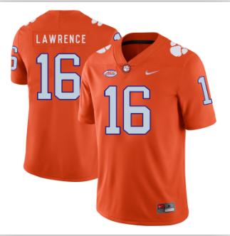 Men's Clemson Tigers #16 Trevor Lawrence Orange Jersey