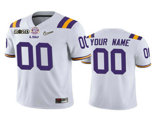Men's LSU Tigers Custom White 2020 National Championship Game Jersey