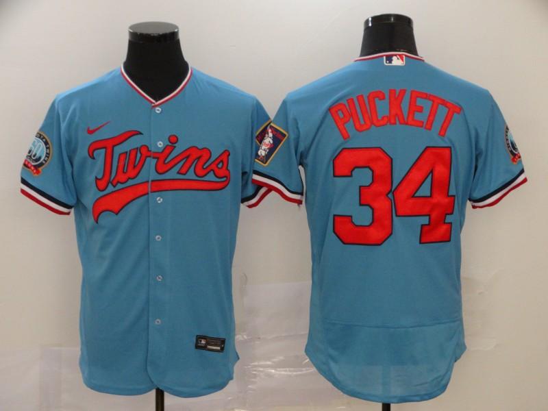 Men's Minnesota Twins #34 Kirby Puckett Light Blue Stitched MLB Flex Base Nike Jersey